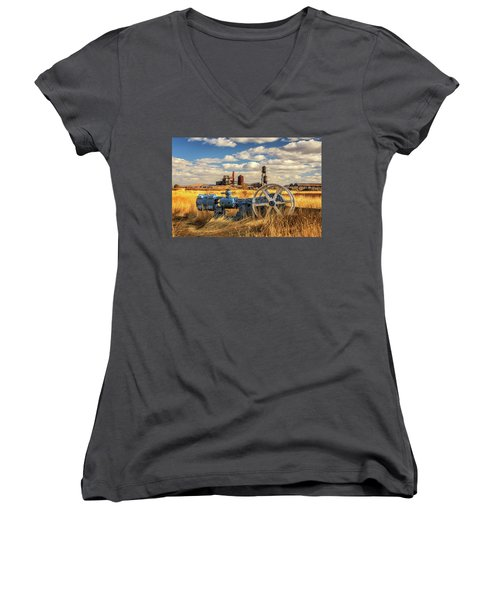 The Old Lumber Mill Women's V-Neck T-Shirt (Junior Cut) by James Eddy