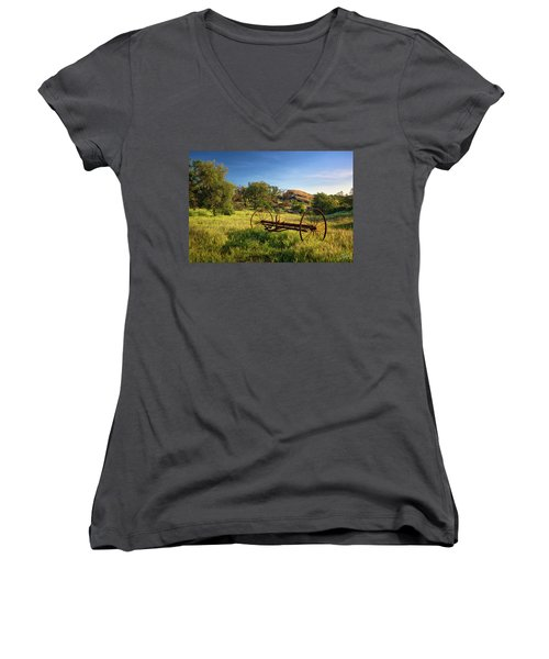 The Old Mower 1 Women's V-Neck T-Shirt (Junior Cut) by Endre Balogh