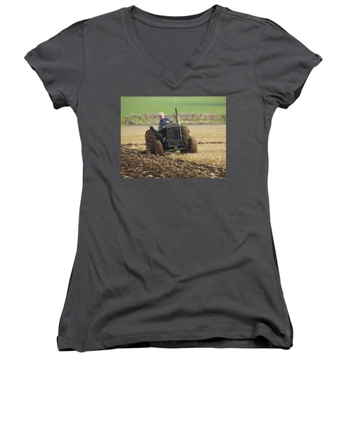 The Old Ploughman Women's V-Neck T-Shirt (Junior Cut) by Roy McPeak