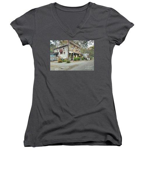 The Old Story Inn 1851 Nashville Indiana - Original Women's V-Neck T-Shirt (Junior Cut) by Scott D Van Osdol