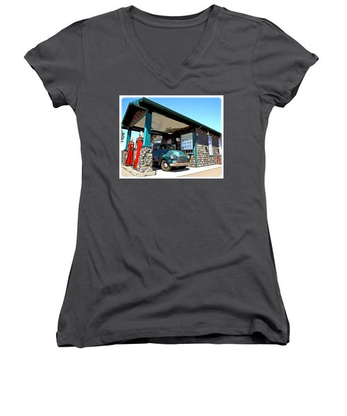 The Old Texaco Station Women's V-Neck T-Shirt (Junior Cut) by Steve McKinzie