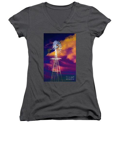 The Old Windmill  Women's V-Neck T-Shirt (Junior Cut) by Toma Caul