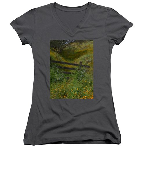 Women's V-Neck T-Shirt (Junior Cut) featuring the photograph The Old Wooden Fence by Debby Pueschel
