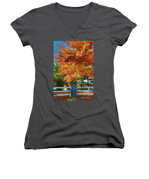 Women's V-Neck T-Shirt (Junior Cut) featuring the photograph The Old Yard Light by Robert Pearson