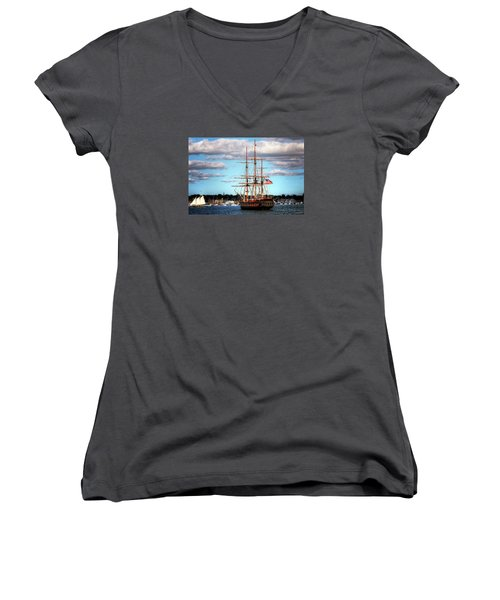 Women's V-Neck T-Shirt (Junior Cut) featuring the photograph Tall Ship The Oliver Hazard Perry by Tom Prendergast