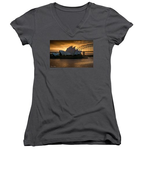 Women's V-Neck T-Shirt (Junior Cut) featuring the photograph The Opera House by Andrew Matwijec