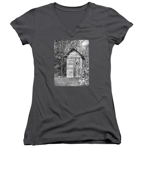 The Outhouse Bw Women's V-Neck (Athletic Fit)