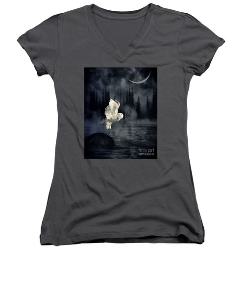 The Owl And Her Mystical Moon Women's V-Neck T-Shirt (Junior Cut) by Heather King