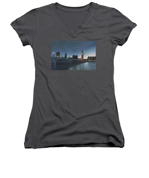 The Palace Of Westminster London Oil On Canvas Women's V-Neck (Athletic Fit)