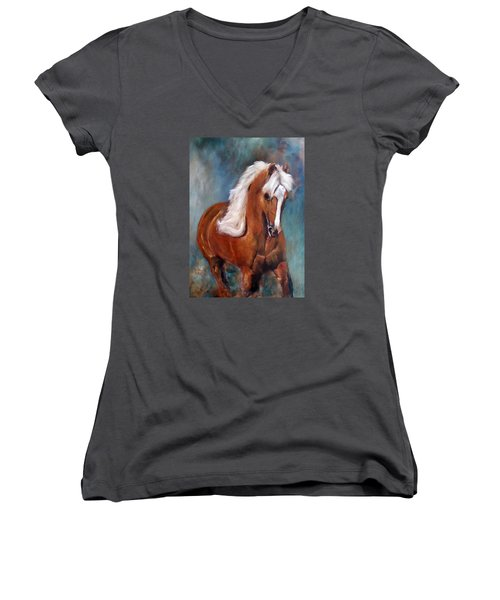 The Palomino 2 Women's V-Neck T-Shirt (Junior Cut) by Barbie Batson