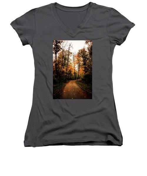 The Path Women's V-Neck T-Shirt (Junior Cut) by Annette Berglund