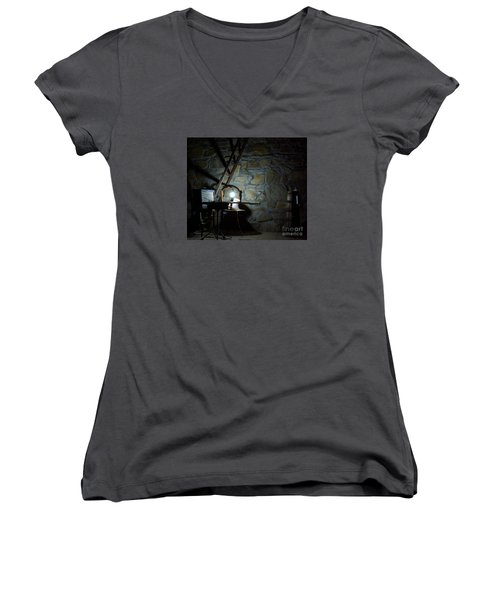 The Perfect Place For Music Women's V-Neck T-Shirt (Junior Cut) by AmaS Art