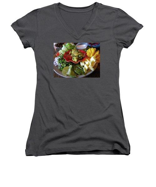 The Perfect Taco  Women's V-Neck T-Shirt (Junior Cut) by Sian Lindemann