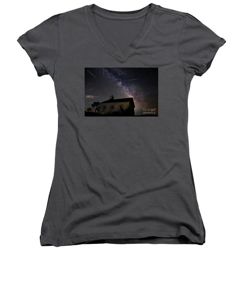 The Perseid Meteor Shower At Lower Fox Creek School  Women's V-Neck T-Shirt (Junior Cut) by Keith Kapple