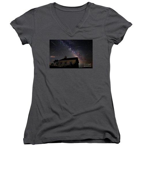 The Perseid Meteor Shower At Lower Fox Creek School  Women's V-Neck T-Shirt