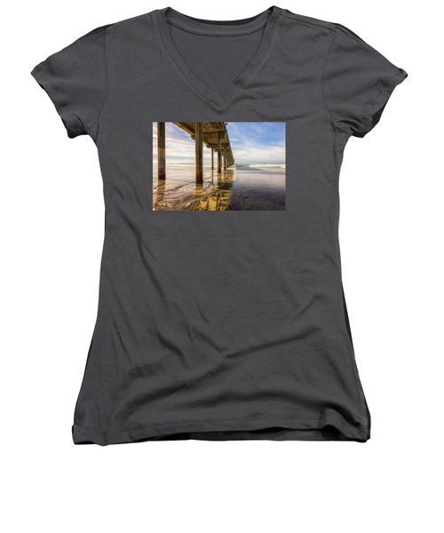 The Pier And Its Shadow Women's V-Neck T-Shirt (Junior Cut) by Joseph S Giacalone