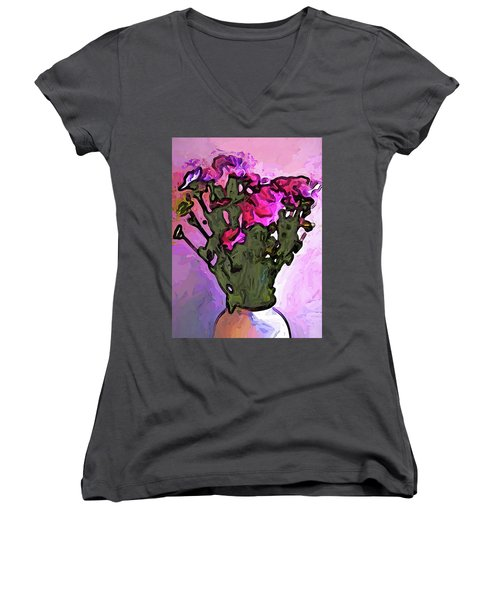The Pink Flowers With The Long Stems In The Vase Women's V-Neck (Athletic Fit)
