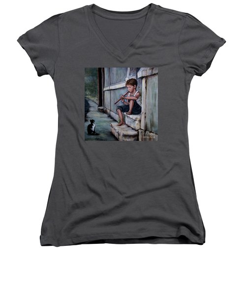 Women's V-Neck T-Shirt (Junior Cut) featuring the painting The Piper by Judy Kirouac