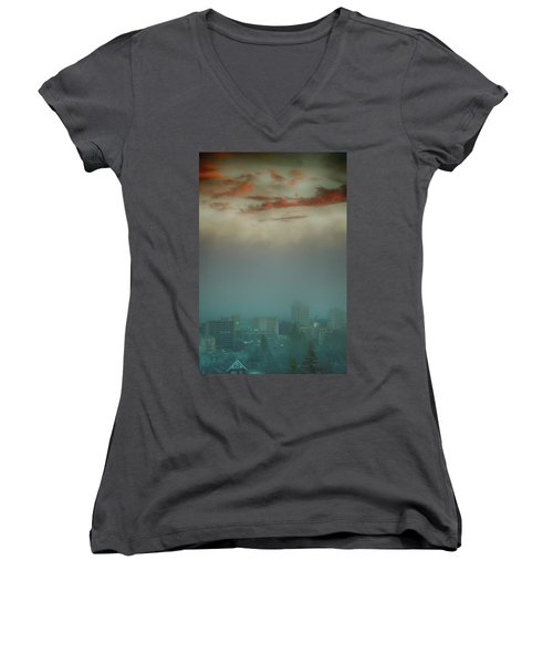 The Planet Above The Earth Women's V-Neck T-Shirt