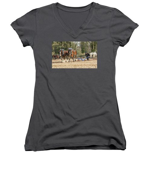 The Ploughman Women's V-Neck T-Shirt (Junior Cut) by Roy McPeak