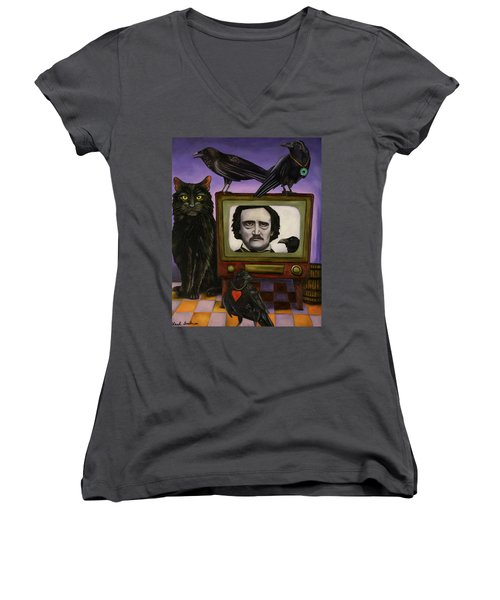 Women's V-Neck T-Shirt (Junior Cut) featuring the painting The Poe Show by Leah Saulnier The Painting Maniac
