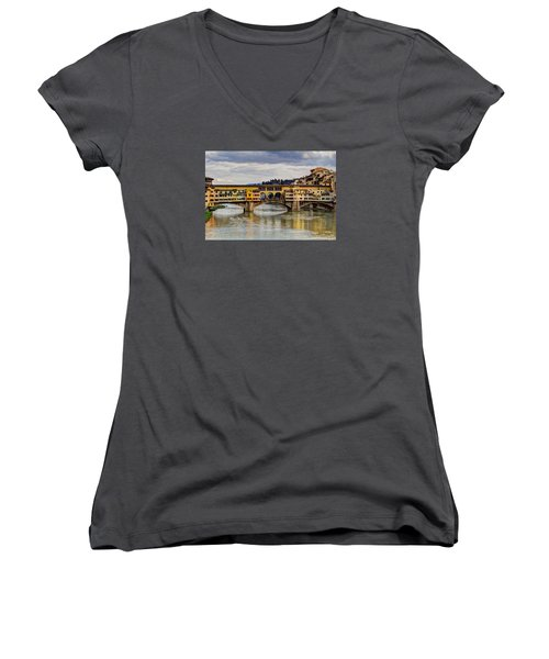 The Ponte Vecchio Women's V-Neck T-Shirt (Junior Cut) by Wade Brooks