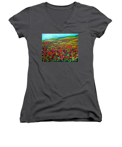 The Poppy Fields Women's V-Neck