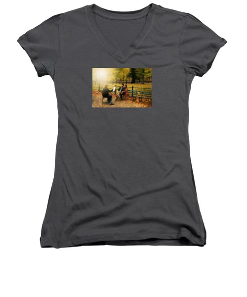 The Portraiture Women's V-Neck T-Shirt (Junior Cut) by Diana Angstadt
