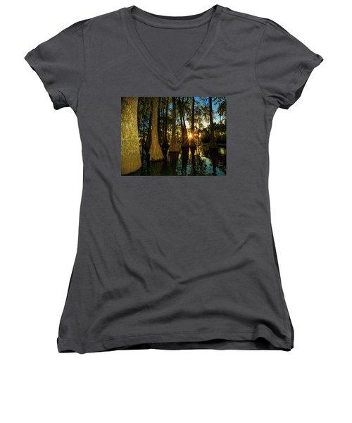 The Pow Wa Of The Light Women's V-Neck T-Shirt (Junior Cut) by Kimo Fernandez