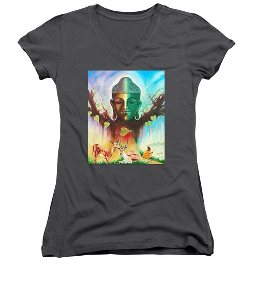 The Power Of Buddha Women's V-Neck T-Shirt (Junior Cut) by Ragunath Venkatraman