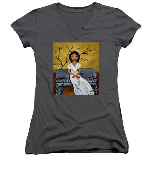 The Power Of The Rosary Religious Art By Saribelle Women's V-Neck (Athletic Fit)