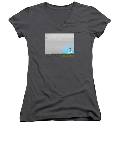 The Powerful  Lighthouse On Lake Michigan Women's V-Neck (Athletic Fit)
