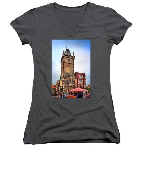 The Prague Clock Tower Women's V-Neck