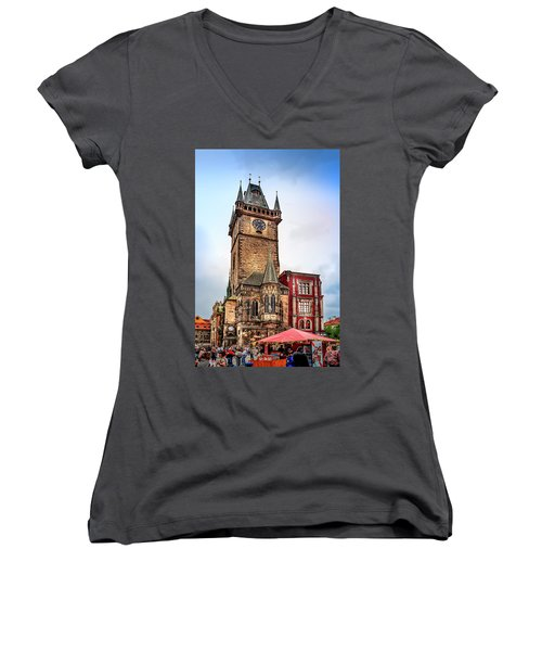 The Prague Clock Tower Women's V-Neck