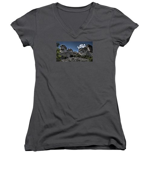 Women's V-Neck T-Shirt (Junior Cut) featuring the photograph The Presidents Of Mount Rushmore by Deborah Klubertanz