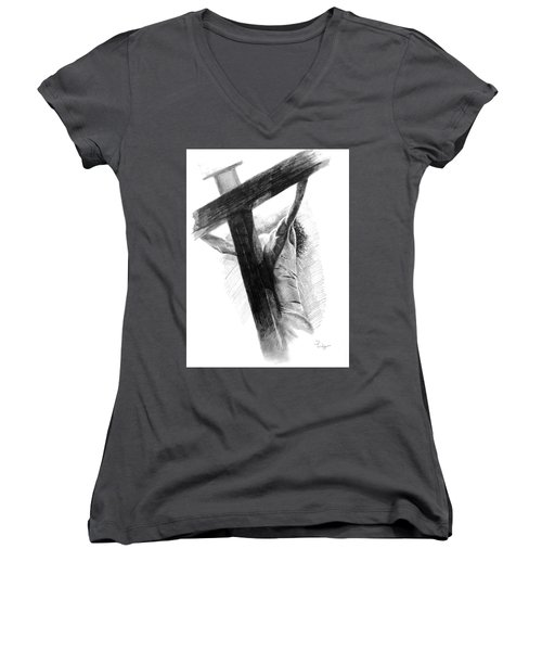 Women's V-Neck T-Shirt (Junior Cut) featuring the drawing The Promise by Noe Peralez
