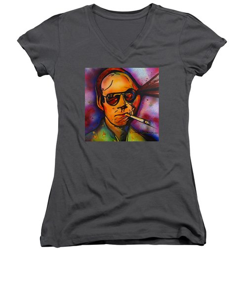 The Psycho-delic Suicide Of The Tambourine Man Women's V-Neck T-Shirt (Junior Cut) by Eric Dee