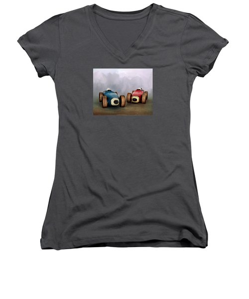 The Race Women's V-Neck T-Shirt (Junior Cut) by David and Carol Kelly