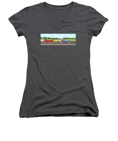 Women's V-Neck T-Shirt (Junior Cut) featuring the digital art The Racers by Gary Giacomelli