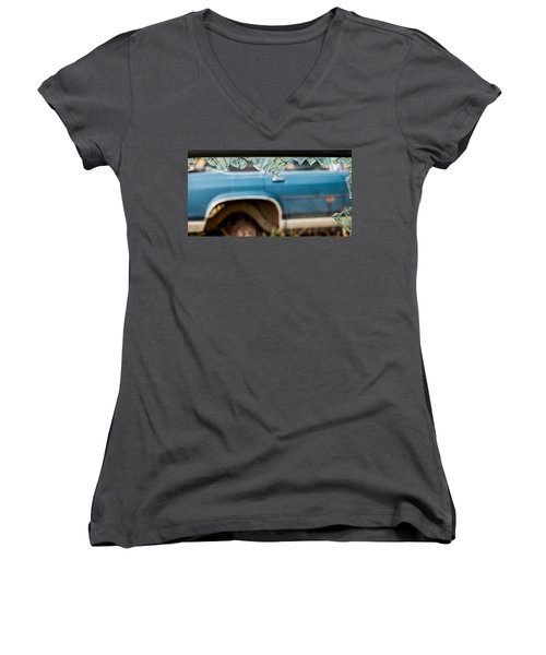 Women's V-Neck T-Shirt featuring the photograph The Ragged Edge by Fran Riley