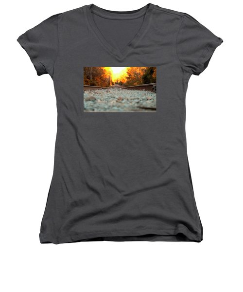 The Railroad Tracks From A New Perspective Women's V-Neck T-Shirt (Junior Cut) by Chris Flees