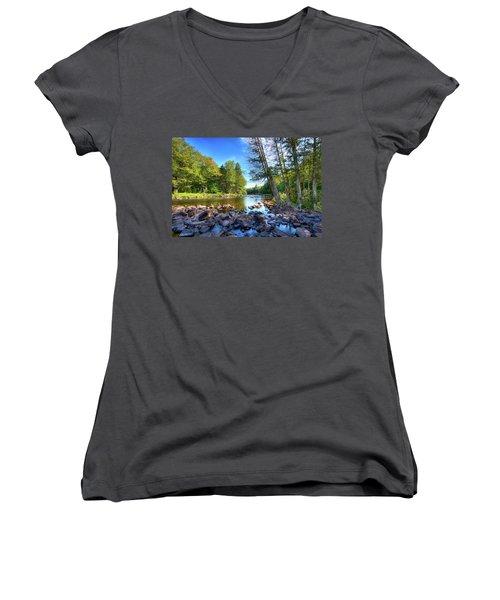 The Raquette River Women's V-Neck T-Shirt (Junior Cut) by David Patterson