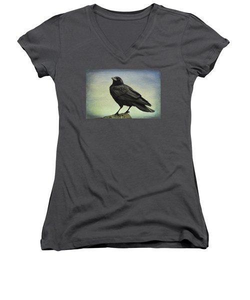 The Raven - 365-9 Women's V-Neck T-Shirt (Junior Cut) by Inge Riis McDonald