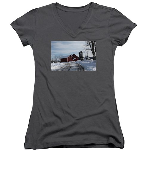 The Red Barn In The Snow Women's V-Neck