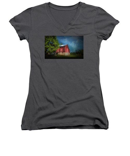 Women's V-Neck T-Shirt (Junior Cut) featuring the photograph The Red Barn by Marvin Spates