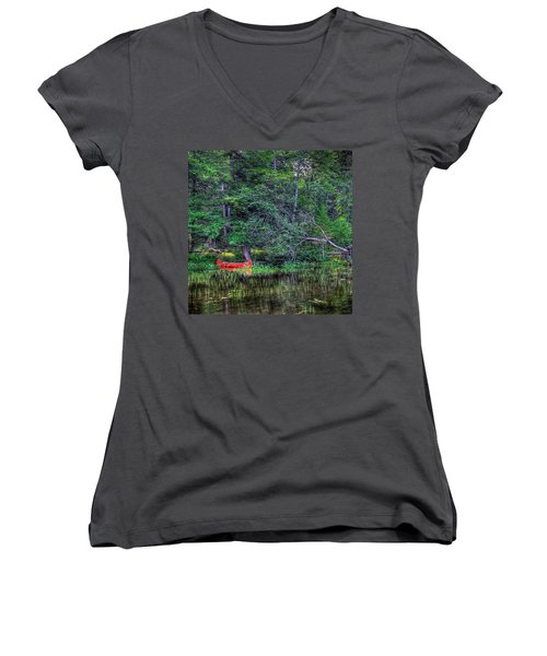 The Red Canoe Women's V-Neck T-Shirt (Junior Cut) by David Patterson