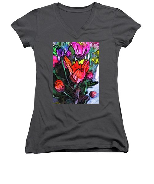 The Red Flower And The Rainbow Flowers Women's V-Neck (Athletic Fit)