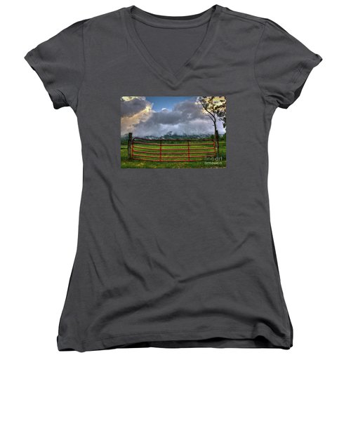 Women's V-Neck T-Shirt (Junior Cut) featuring the photograph The Red Gate by Douglas Stucky