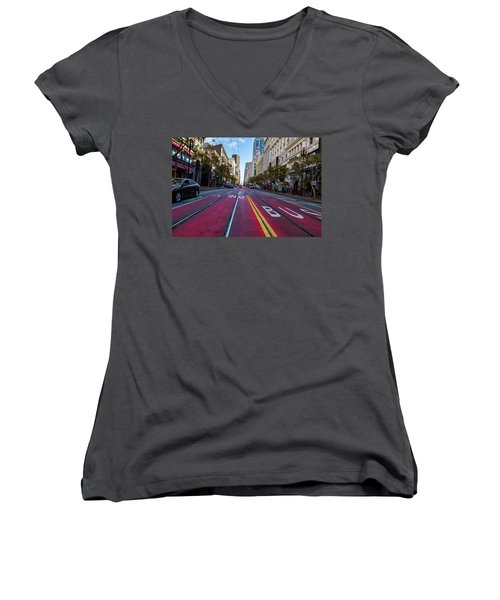 Women's V-Neck T-Shirt (Junior Cut) featuring the photograph The Red Path by Darcy Michaelchuk