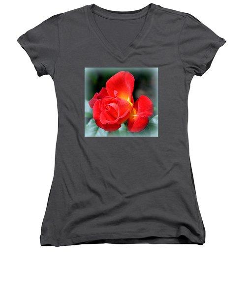 The Red Rose Women's V-Neck